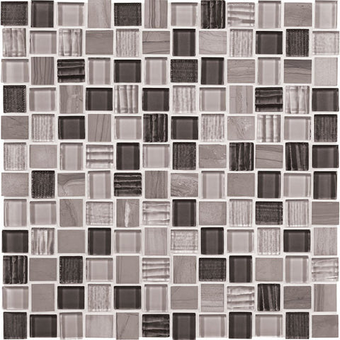 American Olean Marble Weave Great Giza 1 x 1 Offset Marble & Glass Mosaic