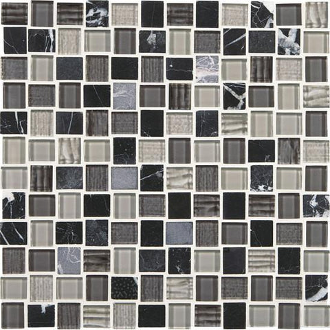 American Olean Marble Weave Colosseum Nights 1 x 1 Offset Marble & Glass Mosaic
