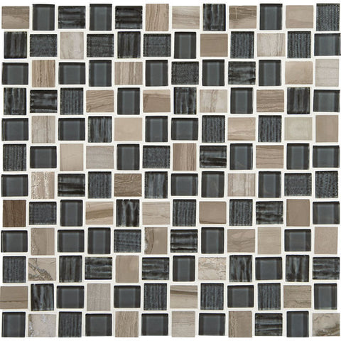 American Olean Marble Weave Stonehenge 1 x 1 Offset Marble & Glass Mosaic