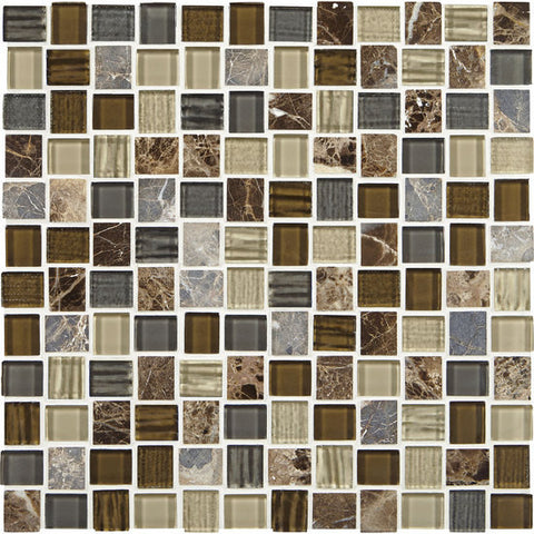 American Olean Marble Weave Great Wall 1 x 1 Offset Marble & Glass Mosaic