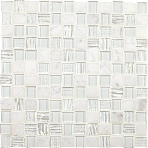 American Olean Marble Weave White Wonder 1 x 1 Offset Marble & Glass Mosaic