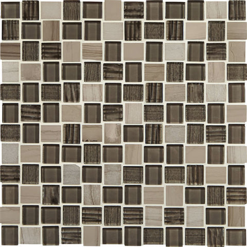 American Olean Marble Weave Machu Picchu 1 x 1 Offset Marble & Glass Mosaic