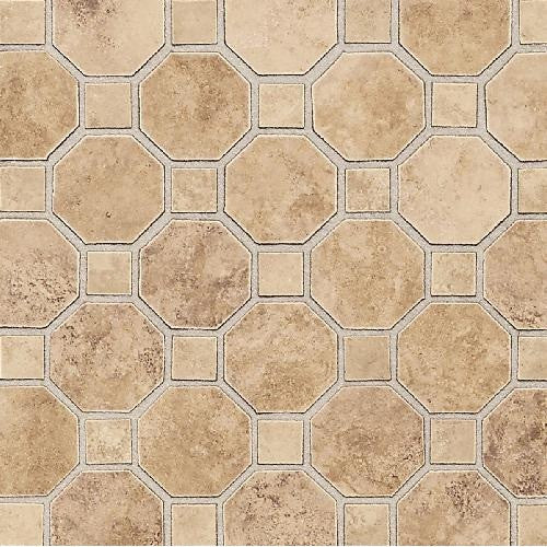 Salerno 2X2 Mosaic Octagon Dot Marrone Chiaro - American Fast Floors