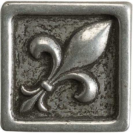 "Marazzi Romance Collection 1""x1"" Nickel Fleur De Lis Insert"