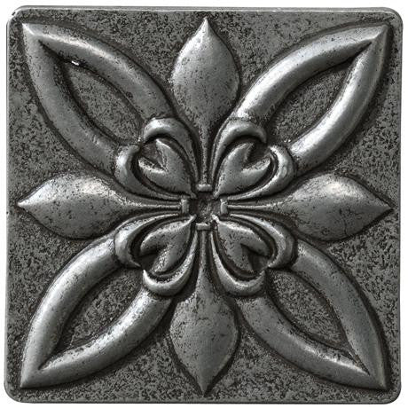 "Marazzi Romance Collection 4""x4"" Nickel Floral Insert"