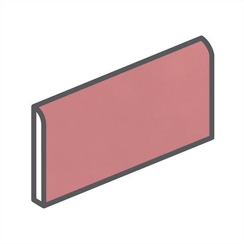 "American Olean Bright 2 x 6 Antique Rose Wall Surface Bullnose - 6"" Side - American Fast Floors"