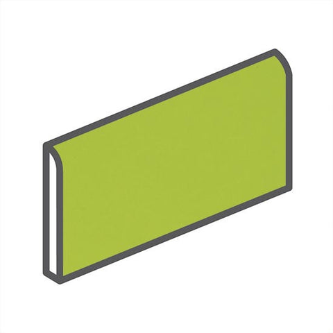 "American Olean Bright 2 x 6 Green Apple Wall Surface Bullnose - 6"" Side - American Fast Floors"