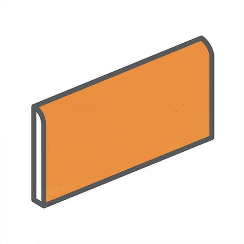 "American Olean Bright 2 x 6 Mandarin Orange Wall Surface Bullnose - 6"" Side"