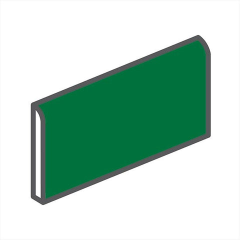 "American Olean Bright 2 x 6 Shamrock Green Wall Surface Bullnose - 6"" Side"