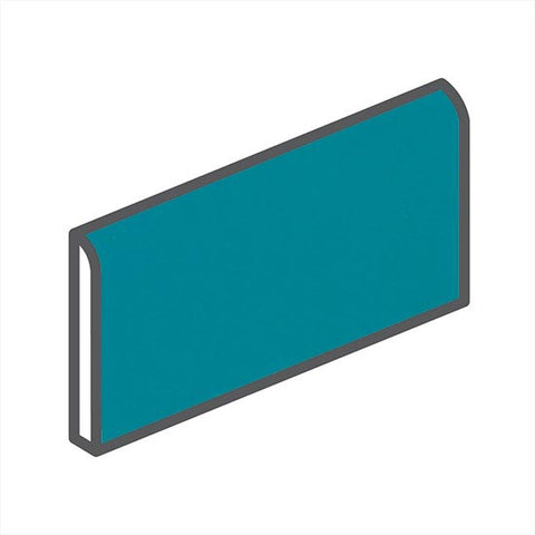 "American Olean Bright 2 x 6 Peacock Blue Wall Surface Bullnose - 6"" Side"