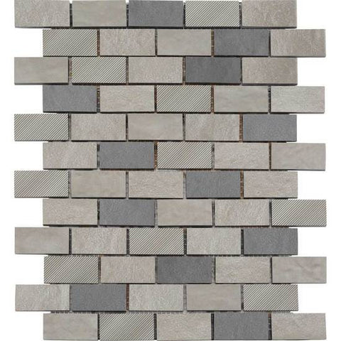American Olean Refined Metals Stainless & Gunmetal Blend 2 x 1 Brick-Joint Mosaic
