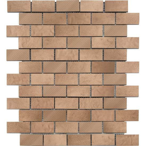 American Olean Refined Metals Bronze Blend 2 x 1 Brick-Joint Mosaic