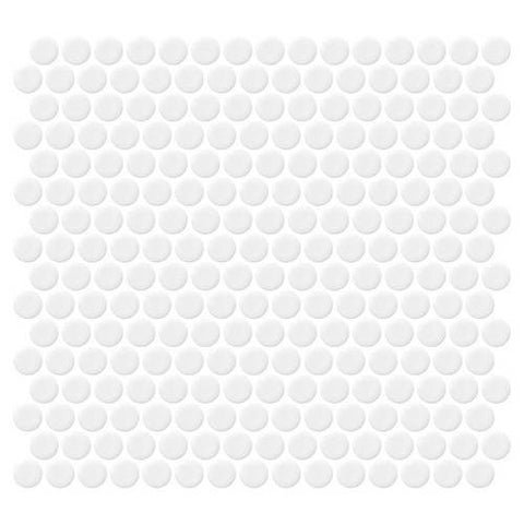 Daltile Retro Rounds Bold White Gloss 1 x 1 Penny Round Mosaic