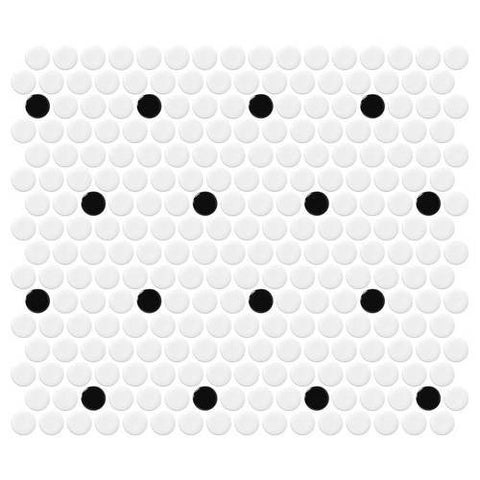 Daltile Retro Rounds Polka Dot Gloss 1 x 1 Penny Round Patterns Mosaic - American Fast Floors