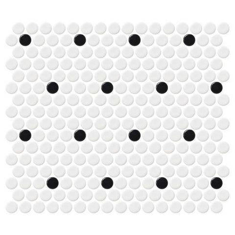 Daltile Retro Rounds Polka Dot Matte 1 x 1 Penny Round Patterns Mosaic