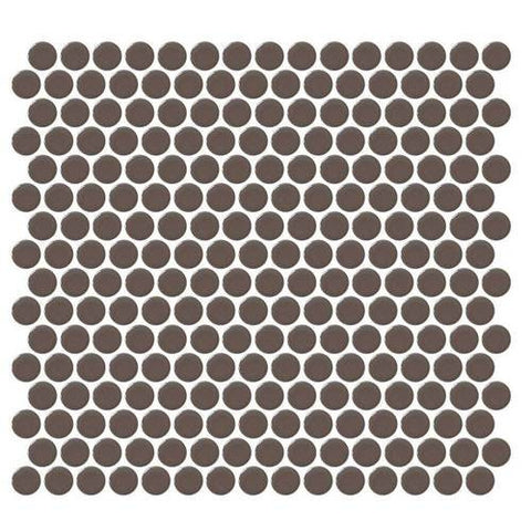 Daltile Retro Rounds Saddle Brown 1 x 1 Penny Round Mosaic