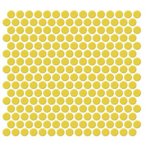 Daltile Retro Rounds Daffodil Yellow 1 x 1 Penny Round Mosaic - American Fast Floors