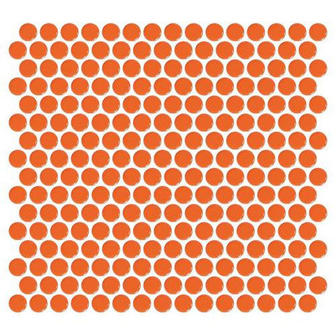 Daltile Retro Rounds Orange Soda 1 x 1 Penny Round Mosaic