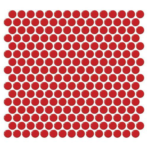 Daltile Retro Rounds Cherry Red 1 x 1 Penny Round Mosaic - American Fast Floors