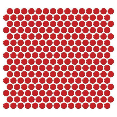 Daltile Retro Rounds Cherry Red 1 x 1 Penny Round Mosaic