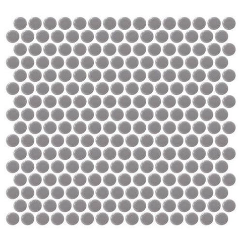 Daltile Retro Rounds Engine Gray 1 x 1 Penny Round Mosaic