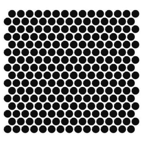 Daltile Retro Rounds Canvas Black Gloss 1 x 1 Penny Round Mosaic