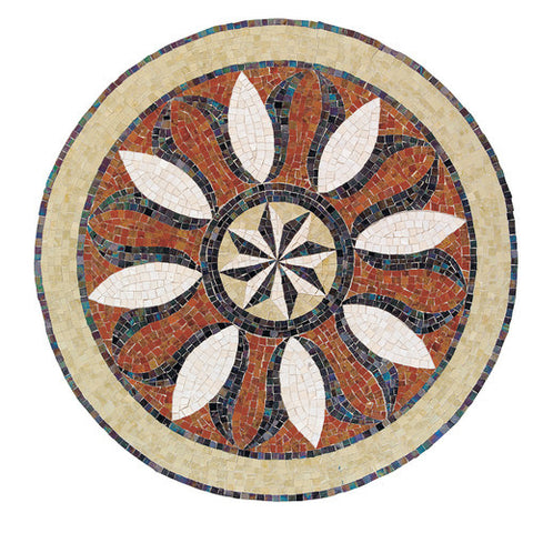 "Daltile Medallion Collection 32"" Round Bussola Natural Stone Tile"