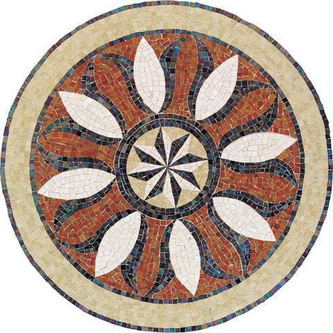 "Daltile Medallion Collection 60"" Round Bussola Natural Stone Tile"