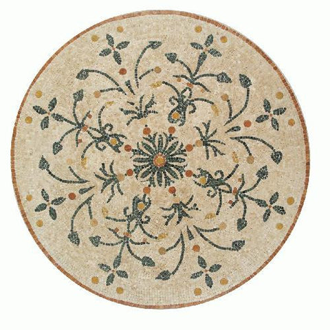 "Daltile Medallion Collection 45"" Round Giardino Natural Stone Tile - American Fast Floors"