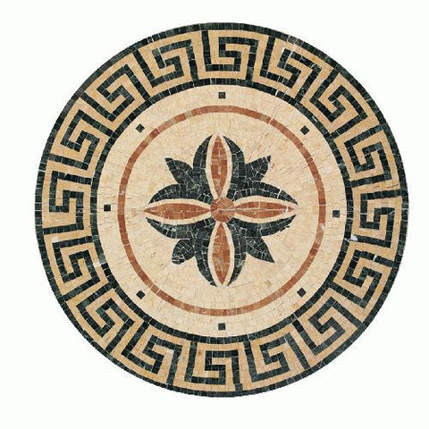 "Daltile Medallion Collection 32"" Round Fiore Natural Stone Tile"