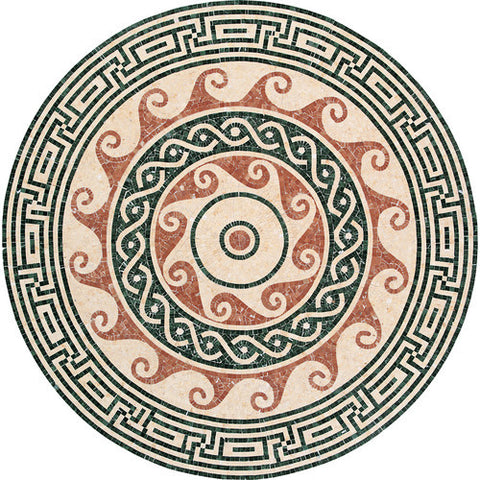 "Daltile Medallion Collection 60"" Round Pennacchino Natural Stone Tile"