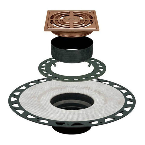 "KERDI-DRAIN Kit 4"" Square Brushed Bronze Anodized Aluminum Grate - ABS Flange with 2"" Drain Outlet"