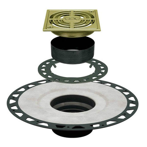 "KERDI-DRAIN Kit 4"" Square Brushed Brass Anodized Aluminum Grate - ABS Flange with 2"" Drain Outlet"