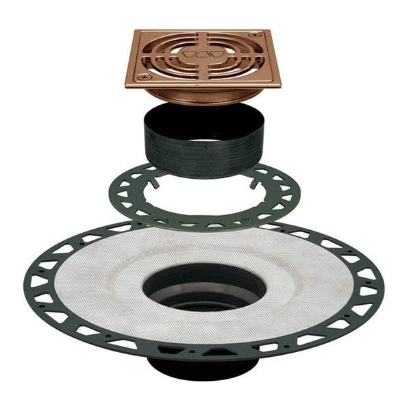 "Schluter Kerdi Drain Kit 4Square Brushed Nickel Anodized Aluminum Grate - Abs Flange With 2"" Drain Outlet - American Fast Floors"