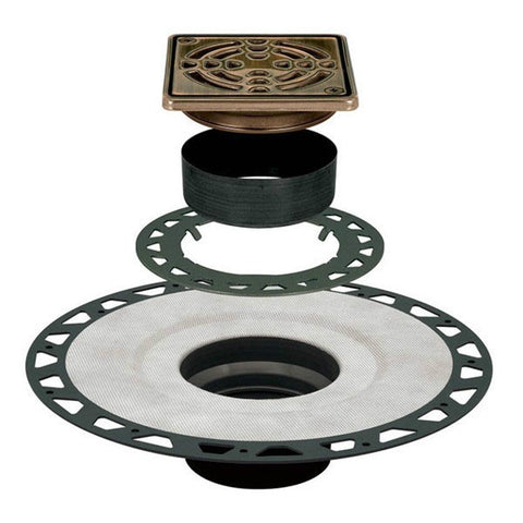 "KERDI-DRAIN Kit 4"" Square Oil Rubbed Bronze Steel Grate - ABS Flange with 2"" Drain Outlet"