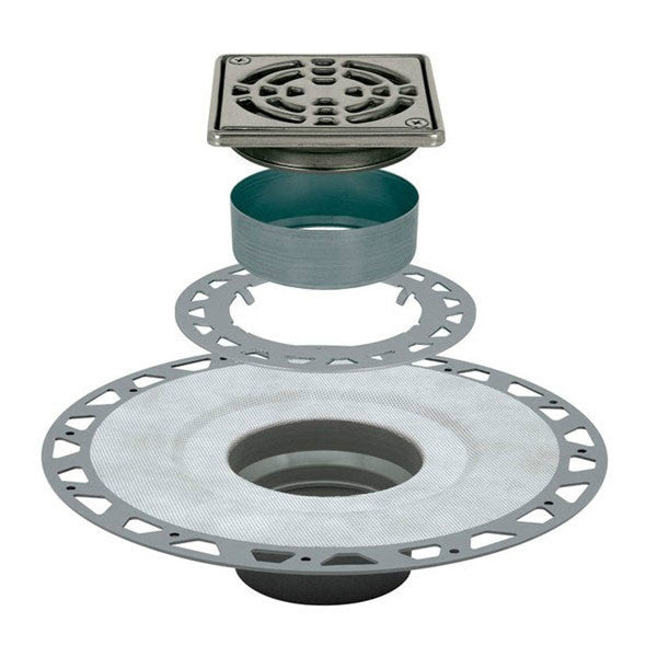"Schluter Kerdi Drain Kit 4 Square Stainless Steel Grate - Pvc Flange With 2"" Drain Outlet - Qty: 10 - American Fast Floors"