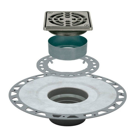 "KERDI-DRAIN Kit 4"" Square Stainless Steel Grate - PVC Flange with 2"" Drain Outlet - Qty: 10"