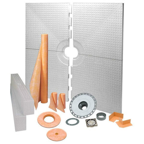 "KERDI-SHOWER-KIT 72"" X 72"" Center Drain Tray Brushed Nickel Anodized Aluminum Grate - ABS Flange"