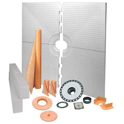 Schluter Kerdi Shower Kit 72 X 72 Center Drain Tray Stainless Steel Grate - Abs Flange - American Fast Floors