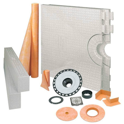 "KERDI-SHOWER-KIT 32"" X 60"" Center Drain Tray Stainless Steel Grate - ABS Flange"