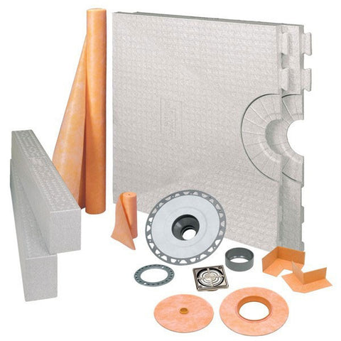 "Schluter KERDI-SHOWER-KIT 32"" x 60"" Center Drain Tray Brushed Nickel Anodized Aluminum - PVC Flange"
