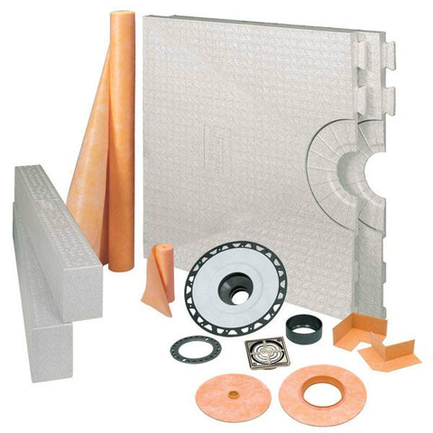 "KERDI-SHOWER-KIT 32"" X 60"" Center Drain Tray Brushed Nickel Anodized Aluminum Grate - ABS Flange"
