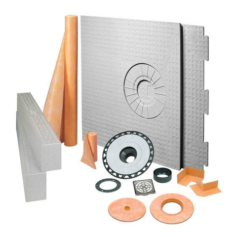 "KERDI-SHOWER-KIT 32"" X 60"" Off Center Drain Tray Stainless Steel Grate - ABS Flange"