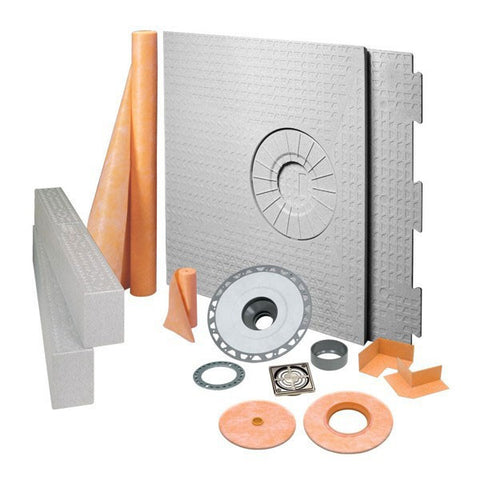 "Schluter KERDI-SHOWER-KIT 32"" x 60"" Off Center Drain Tray Brushed Nickel Anodized Aluminum - PVC Flange"