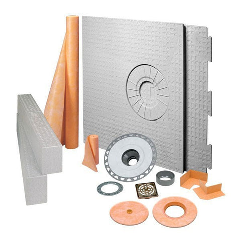 "Schluter Kerdi- Shower- Kit 32"" X 60"" Off Center Drain Tray Oil Rubbed Bronze Steel - Pvc Flange"