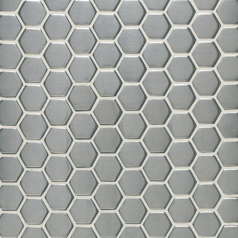 Daltile Metallica Brushed Stainless Steel 1 x 1 Hexagon Mosaic