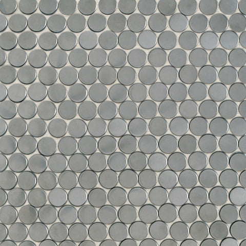 Daltile Metallica Brushed Stainless Steel 3/4 x 3/4 Pennyrounds Mosaic