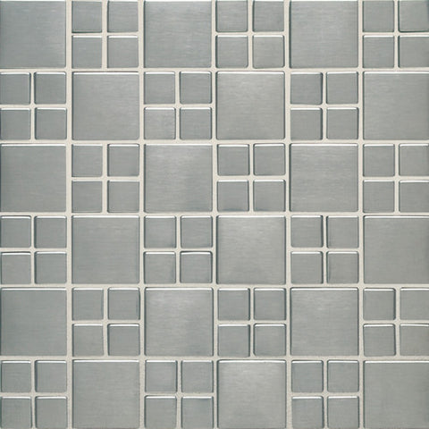 Daltile Metallica Brushed Stainless Steel 1 x 1 and 1-1/2 x 1-1/2 Square Combination Mosaic