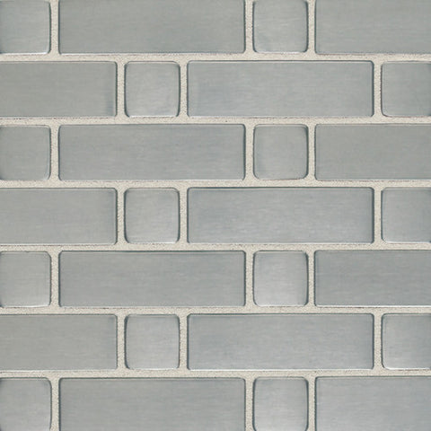 Daltile Metallica Brushed Stainless Steel 1 x 1 and 1 x 4 Basketweave Mosaic