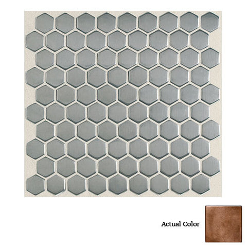 Daltile Metallica Oxidized Copper 1 x 1 Hexagon Mosaic